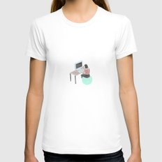 Office Bounce Womens Fitted Tee MEDIUM White