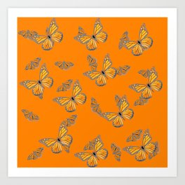 ABSTRACT GREY MONARCH BUTTERFLIES ON ORANGE Art Print