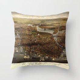 The city of Boston, Massachusetts (1873) Throw Pillow