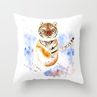 tiger Throw Pillows featuring Tiger by Anna Shell