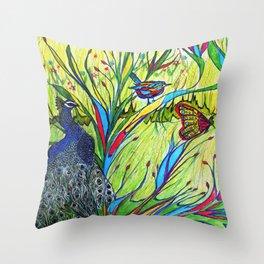 Peacock In Dreamland Throw Pillow