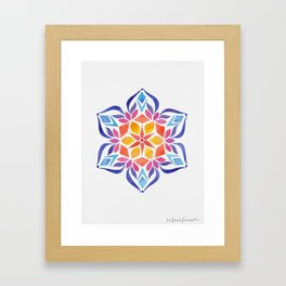 Snowflake - Blue and Yellow Framed Art Print