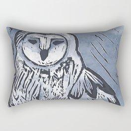 Cool blue bold owl lino print, Bird of prey lino print Rectangular Pillow