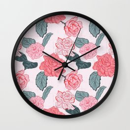 Roses and leaves Wall Clock