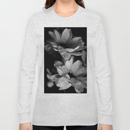 Flower and drops. Black and white. Long Sleeve T-shirt
