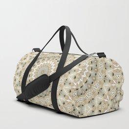 Beige , grey , mandala Duffle Bag