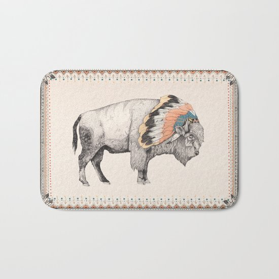 White Bison Bath Mat