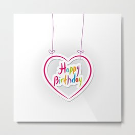 Happy birthday. pink heart on White background. Metal Print