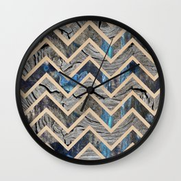 Wood + Rust Chevron Wall Clock