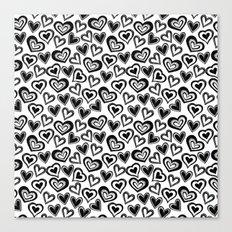 MESSY HEARTS: BLACK Canvas Print
