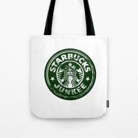 starbucks Tote Bags featuring Starbucks Junkee by Snorting Pixels