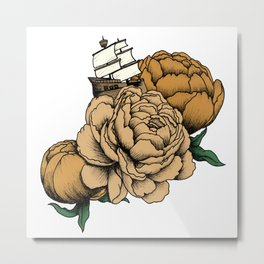 Sailing a Sea of Peonies - Vintage Yellow Metal Print