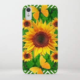 Green Yellow Butterflies Sunflowers Flowers  Art iPhone Case