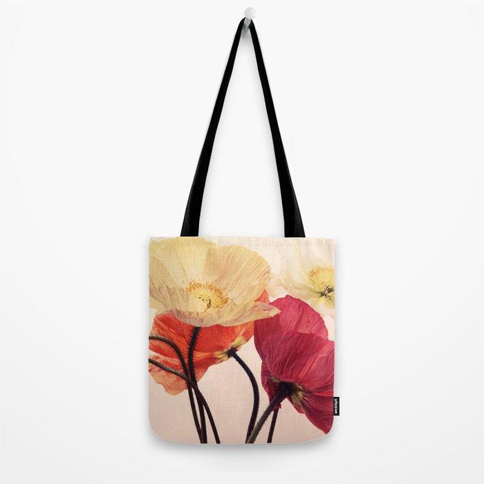 Posing Poppies - bright, vintage toned poppy still life Tote Bag