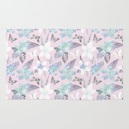 Modern tropical pink blue watercolor butterfly floral Rug