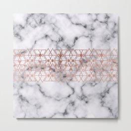 Rose Gold Marble Triangle Tribal Geometric Metal Print