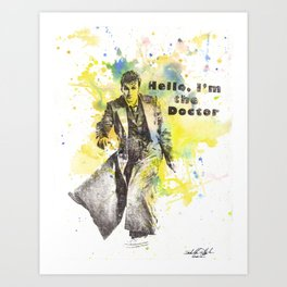 Doctor Who 10th Doctor David Tennant Art Poster Print Art Print