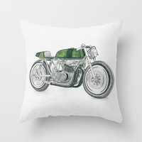 motorbike Throw Pillows featuring MOTORBIKE by EDENLAND