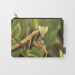 Praying Mantis On Green Garden Background Carry-All Pouch