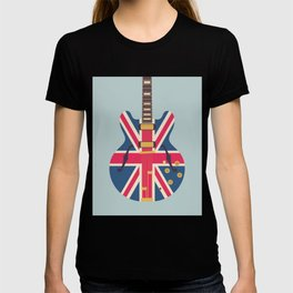 Union Jack Flag Guitar - Slate T-shirt
