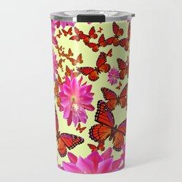 Blue & Yellow Butterflies  Pink Flowers Pattern Art Travel Mug