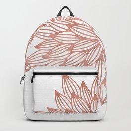 Mandala Flowery Rose Gold on White Backpack