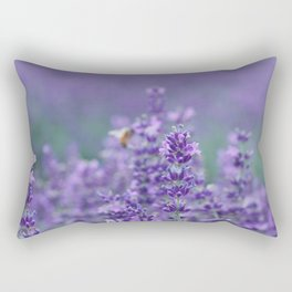 Lavender with bee in the background Rectangular Pillow