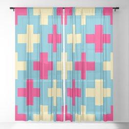 Pink Crosses Sheer Curtain