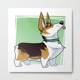 Lizbeth the Corgi Caricature Metal Print