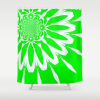 lime green Shower Curtains featuring Lime Green Modern Flower by 2sweet4words Designs