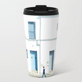 White and blue town Travel Mug
