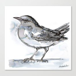 Bird with Heart Echo, Watercolor Canvas Print