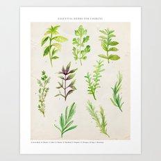 Watercolor Herbs Art Print