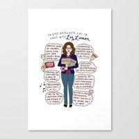 liz lemon Canvas Prints featuring Liz Lemon Friend Dates by Tyler Feder