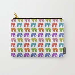 Colorful Parade of Elephants in Red, Orange, Yellow, Green, Blue, Purple and Pink Carry-All Pouch