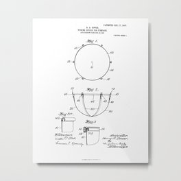 Tuning Device for Timpani Vintage Patent Hand Drawing Metal Print