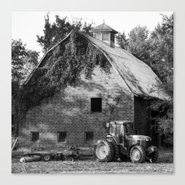 Vintage Barn and Farm Tractor - Black and White 1x1 Canvas Print