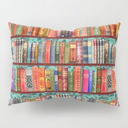 Vintage Books / Christmas bookshelf & holly wallpaper / holidays, holly, bookworm,  bibliophile Pillow Sham