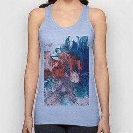 Bali: a vibrant, colorful abstract in blue, green, and pink/red Unisex Tank Top