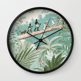 The Explorer - People Walking on a Log in the Jungle - Vintage movies poster illustration style Wall Clock