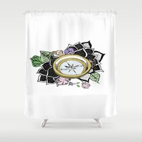 compass Shower Curtains featuring Compass by KayleneMcKenney