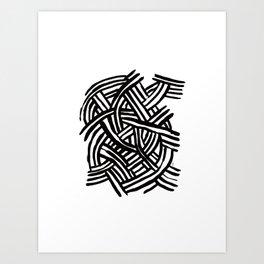 Black ink - lines Art Print