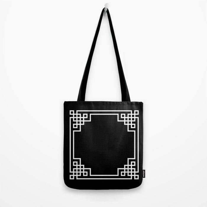 Black White Lattice Frame Tote Bag