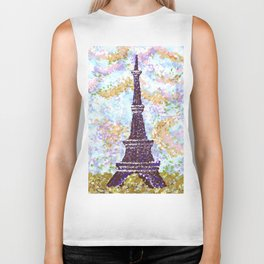 Eiffel Tower Pointillism by Kristie Hubler Biker Tank