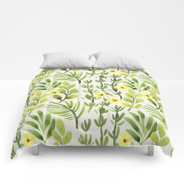 Spring Green (yellow flowers) Comforters