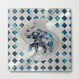 Silver Framed Elephant on Abalone and Pearl Metal Print