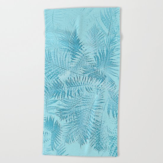 Abstract Tropical leaves Beach Towel