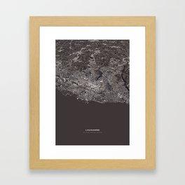 Lausanne - city map Framed Art Print