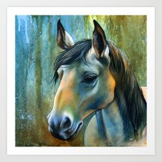 Horse in Blue Art Print