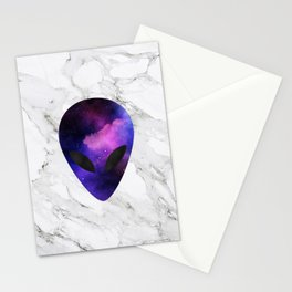 Galaxy Alien on Marble - tumblr trendy Stationery Cards